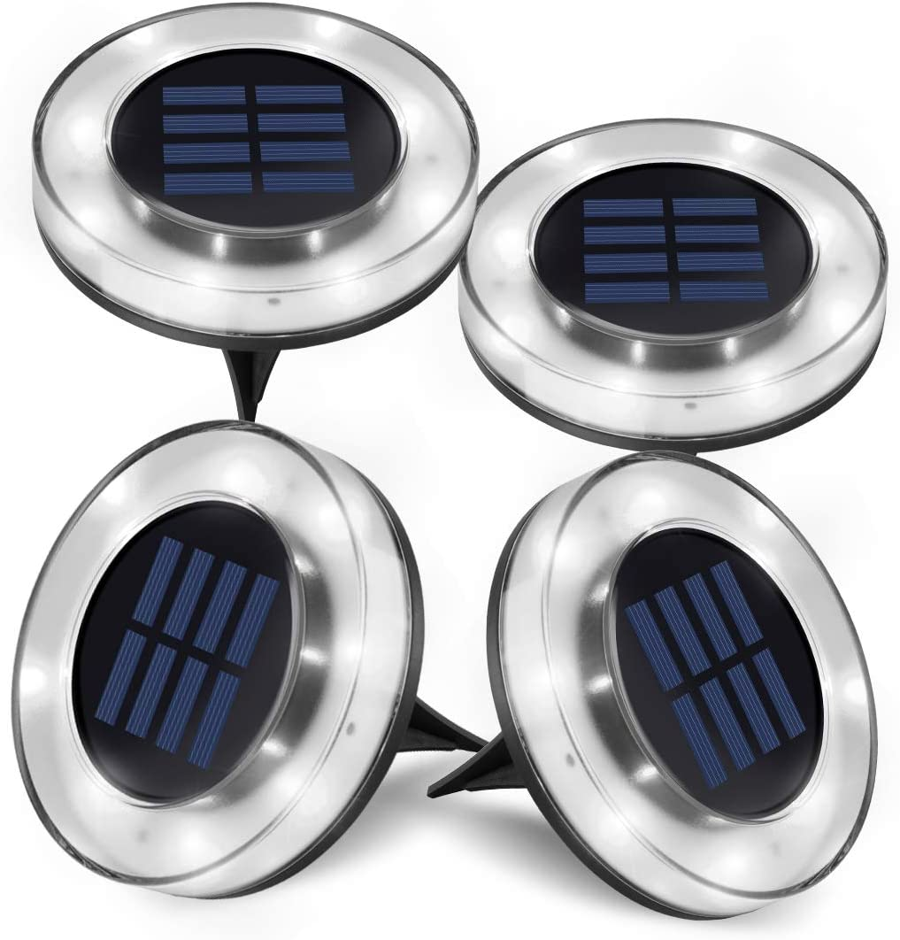 Solar Lights Outdoor, Newest Design Solar Disk Lights Outdoor, Waterproof Patio Garden Pathway In-Ground Lights - White(4 Pack)