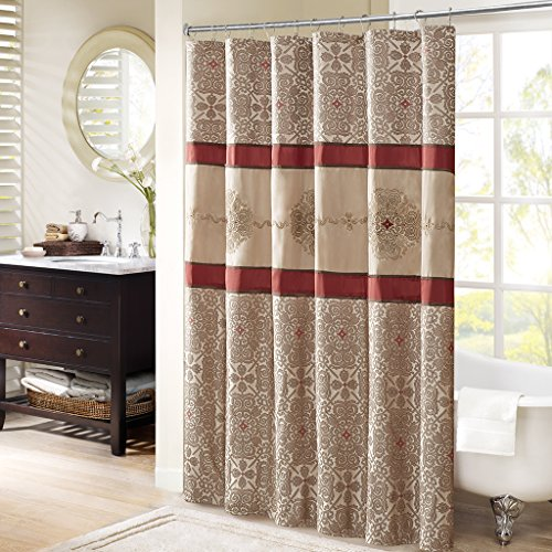 Madison Park Donovan Design Weave Red Shower Curtain, Jacquard Traditional Shower Curtains for Bathroom, 72 X 72, Blush (Red Brown Curtain Shower And)