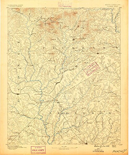 Pickens SC topo map, 1:125000 scale, 30 X 30 Minute, Historical, 1888, 19.8 x 16.5 IN - - Whitehall Jim