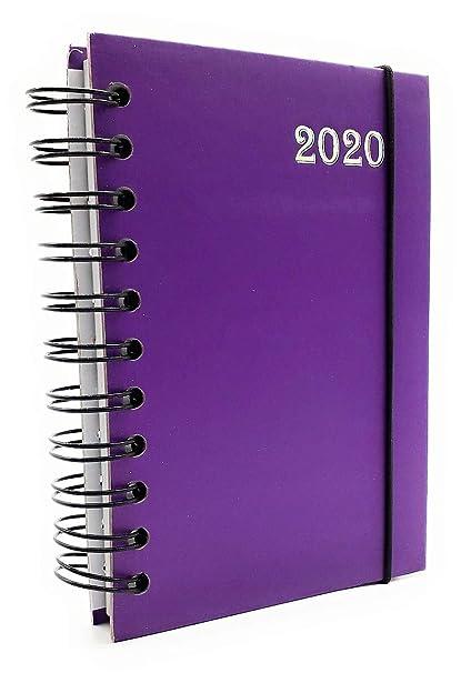 Lagom - Agenda diaria 2020 en espiral, 12 meses, formato de bolsillo, 10 x 15 cm, color VIOLA L 14X21