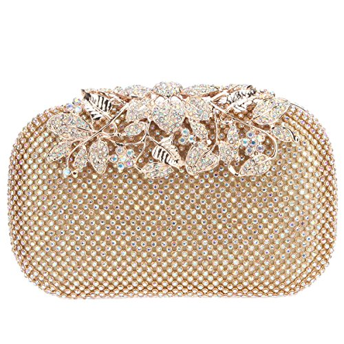 Fawziya Flower Purses With Rhinestones Crystal Evening Clutch Bags-AB Gold