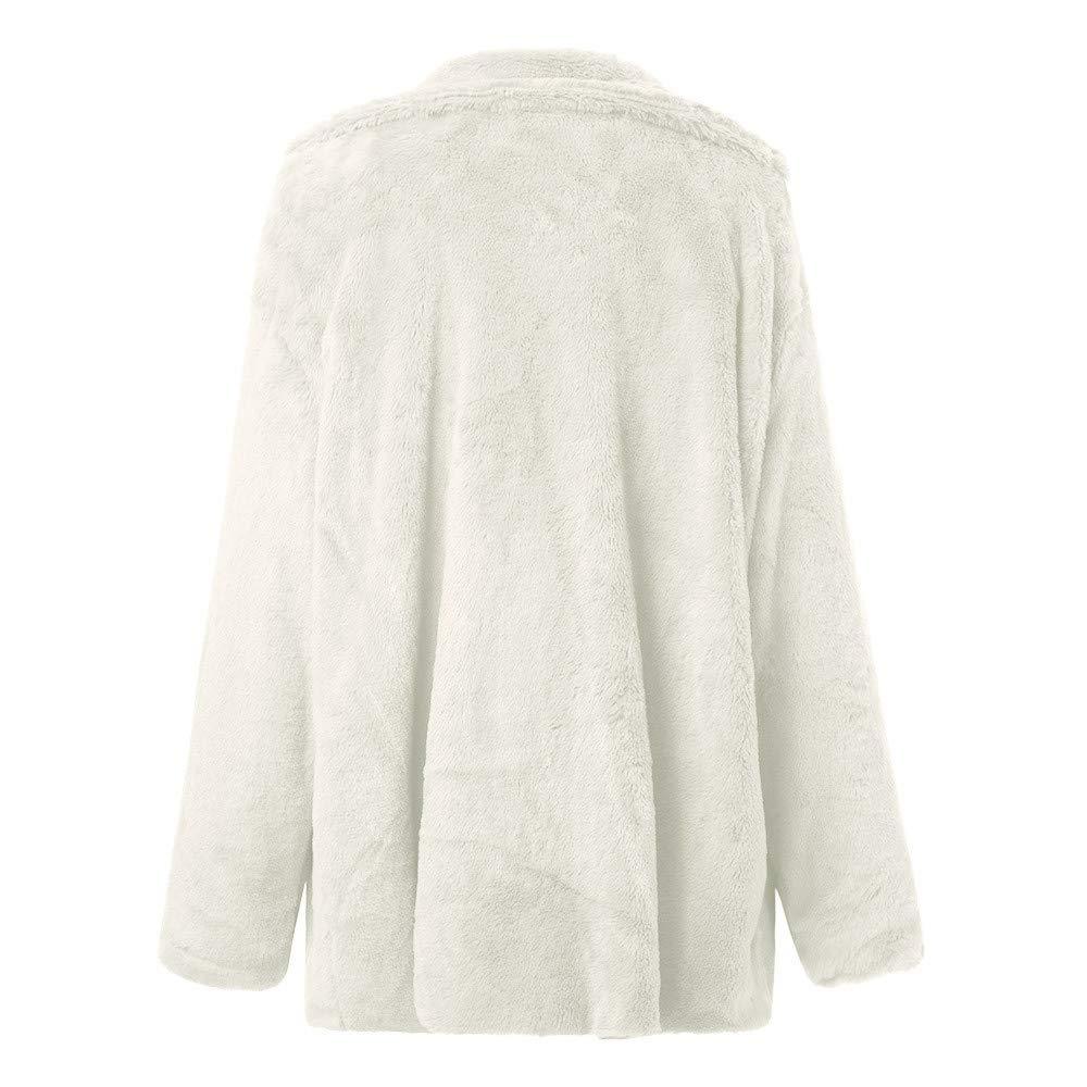 POLP Abrigos mujer Abrigo de Invierno de Mujer Mantenga la Ropa de Abrigo Caliente Abrigo de Pieles Flojo del Cuello Grande para Mujer Color Sólido Abrigo ...