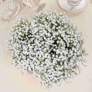 Zereff Ornamental vases Artificial Flowers Single Branch Baby's Breath Artificial Flowers Fake Flower for Home Wedding Decoration Shooting Props 4