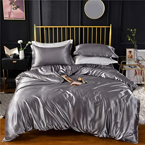 Grey Gray Luxury Silk Bedding Set Include Silk Duvet Cover Silk Pillow Sham And Silk Fitted Sheet Satin Silk Silk Blend Fabric No Comforter Or Duvet Insert Included Full Queen Size Home