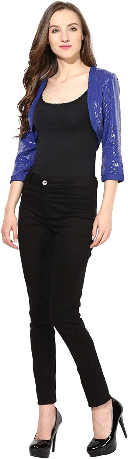 THE VANCA Short Shrug in Blue Color Sequin