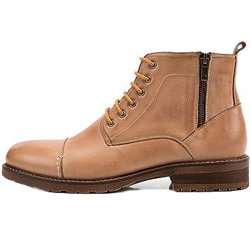 MERRYHE Botines Martin con Cordones para Hombre Botas Chelsea De Cuero Real Zapatos con Cremallera Lateral