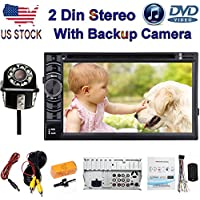 Double 2 DIN Car Stereo With Bluetooth Backup Camera - 6.2 Inch Touch-Screen HD DVD Player / CD Player / Audio Video / USB SD Card Slot (2018 Newest)