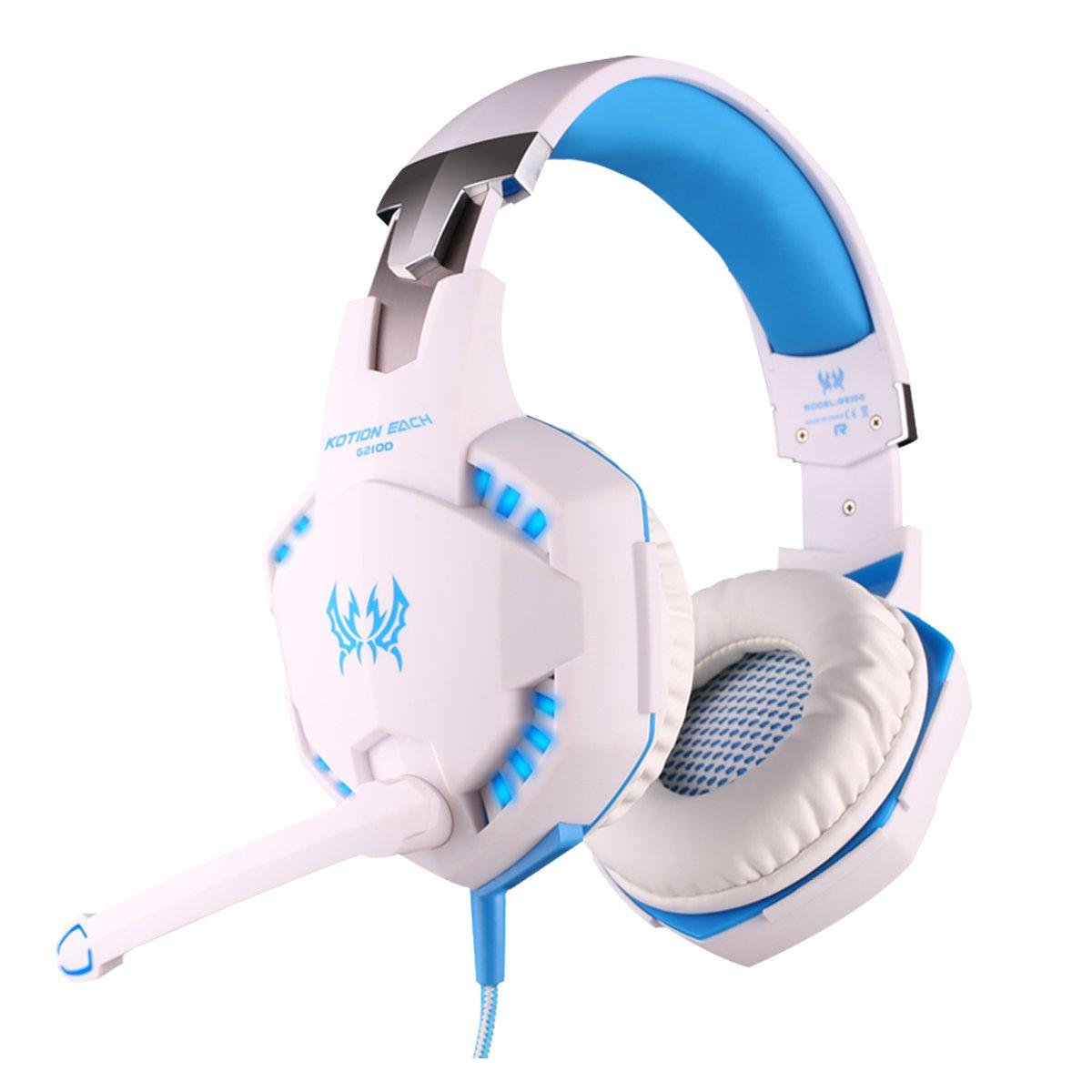 KingTop EACH G2000 Gaming Casque Oreillettes é couteur avec micro Basse sté ré o LED pour PC Game, Bleu et Noir JalonC 3MQ1418270705580V8