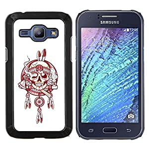 Planetar® ( Indian Smoke Jefe Paz Blanco Rojo ) Samsung Galaxy J1 J100 Fundas Cover Cubre Hard Case Cover