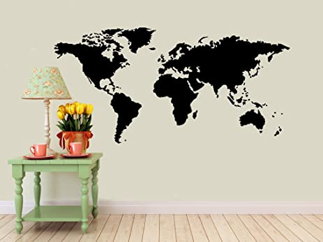 Amazon detailed world map wall decal black matte measures detailed world map wall decal black matte measures 22quot gumiabroncs Image collections