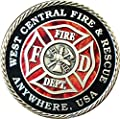 "wendells Set of 20 Customized Fire House & City Pewter Color Fireman Challenge Coins 1 9/16"" Fire Fighter Medallions by Wendells"