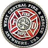 Set of 20 Customized Fire House & City Pewter Color Fireman Challenge Coins 1 9/16'' Fire Fighter Medallions