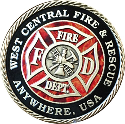 Pewter Coin Set (Set of 10 Customized Fire House & City Pewter Color Fireman Challenge Coins 1 9/16