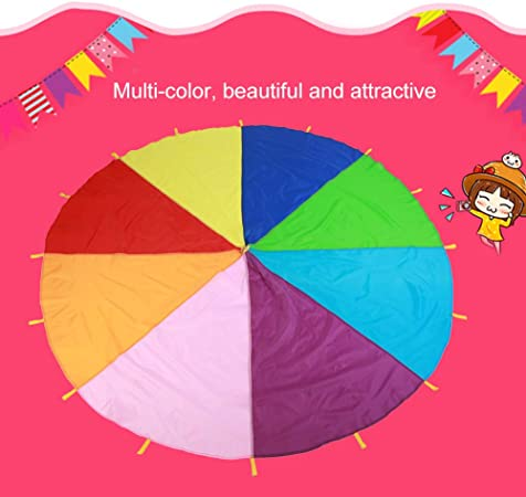 3m//118in Kids Parachute Giant Multicolored Kid/'s Play Parachute Canopy with 16 Handles Indoor /& Outdoor Games and Exercise Toy Promote Teamwork Fitness Social Bonding