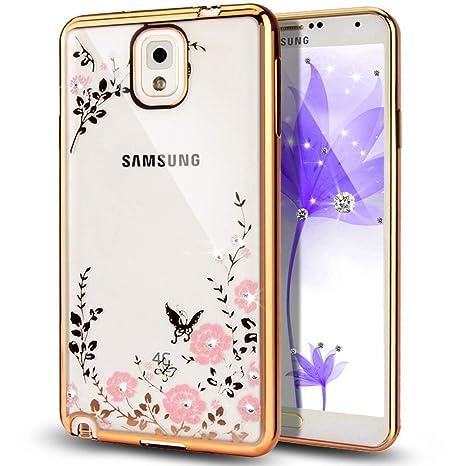 Funda Galaxy Note 3,Carcasa Galaxy Note 3,Brillante cristal diamante scintillio brillantes Flor rosa mariposa chapado Funda transparente Silicona Gel ...