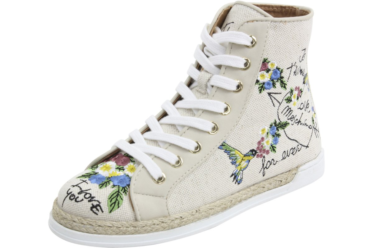 Love Moschino Fashion Embroidered Natural Canvas High Top Sneakers Shoes Sz: 9