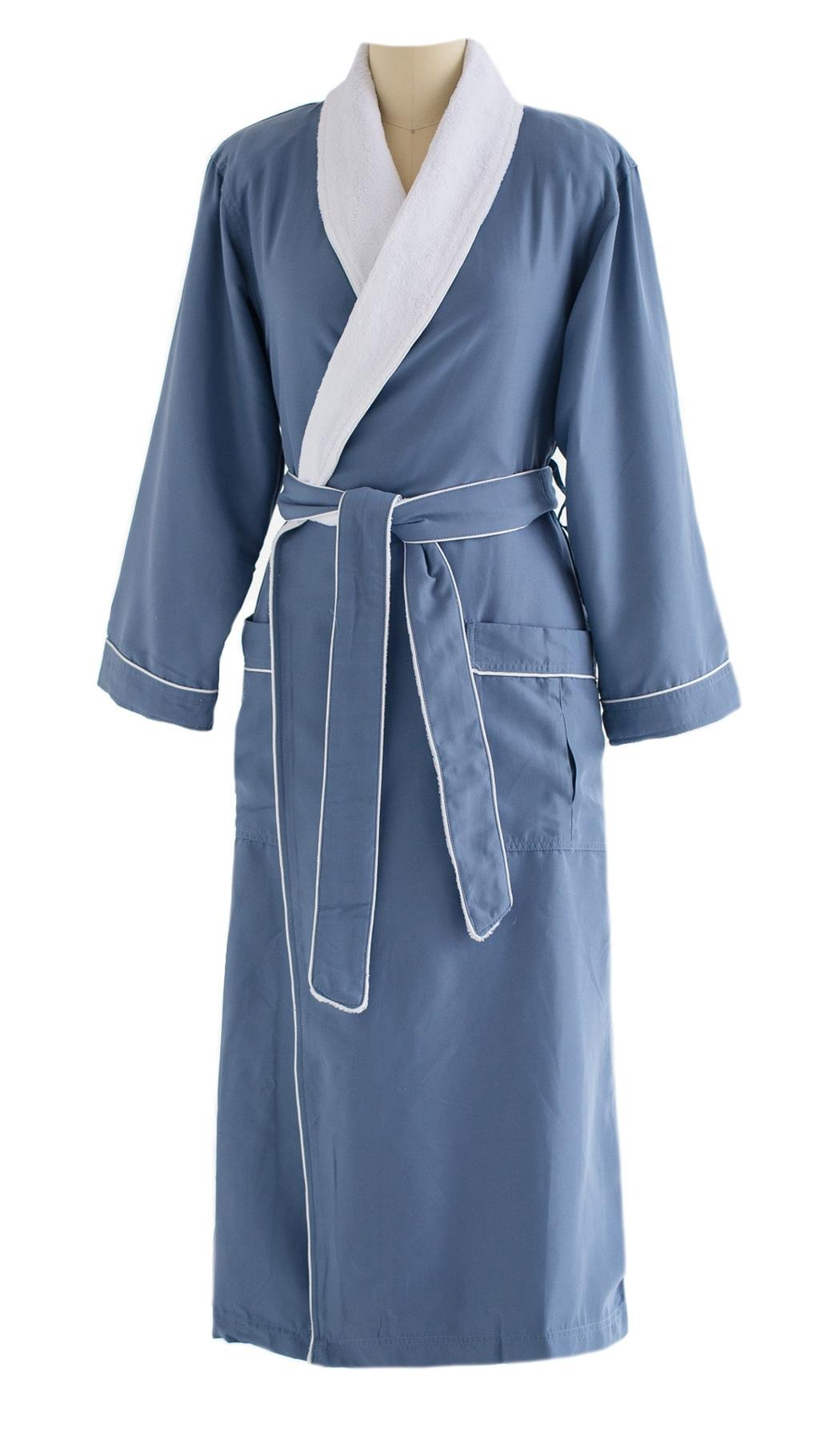 Chadsworth & Haig Microfiber Plush Bathrobe With Minx Lining - Men and Women - Periwinkle - X-Small