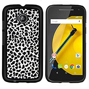 EJOOY---Cubierta de la caja de protección para la piel dura ** Motorola Moto E2 E2nd Gen ** --Textura de impresión Negro