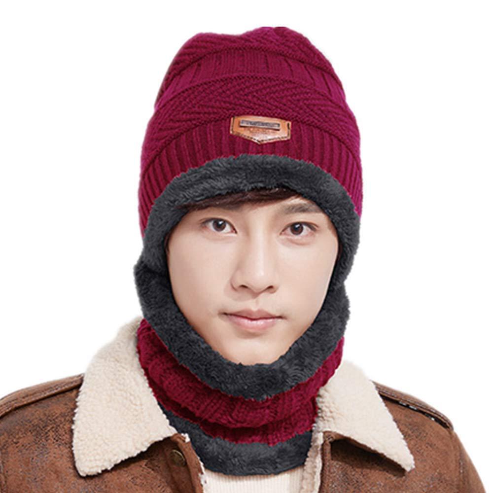 3d46a13eb Men Women Winter Warm Knitted Hat Skullies Beanie Hat w/Neck Warmer ...
