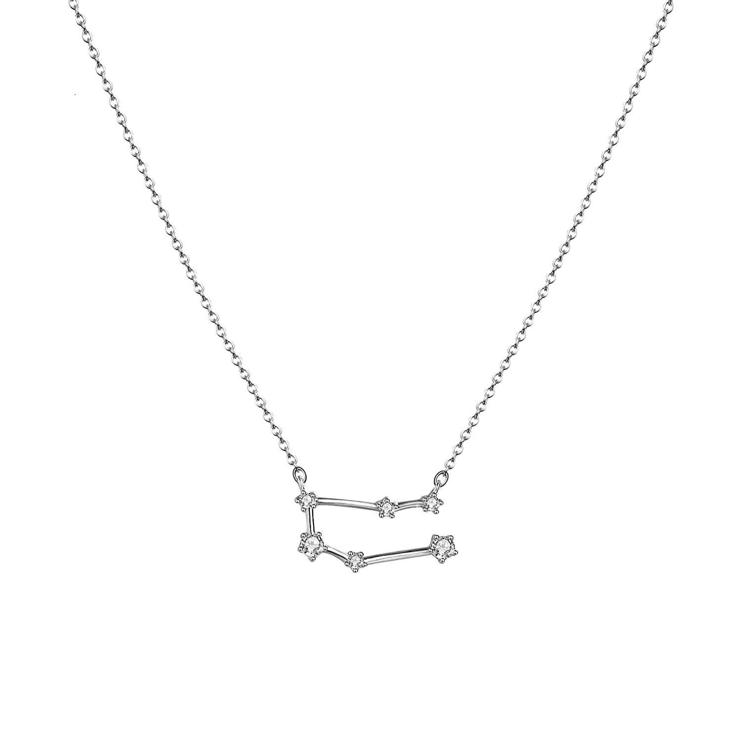 Silver Astrology Constellation Horoscope Pendant Necklace Delicate Rhinestone Sign Elegant CZ Necklace for Women Citled Women/'s Zodiac Necklace