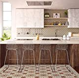 Kitchen vinyl mat Carpet Tiles Pattern Decorative linoleum rug , Bordeaux &ligth brown 210