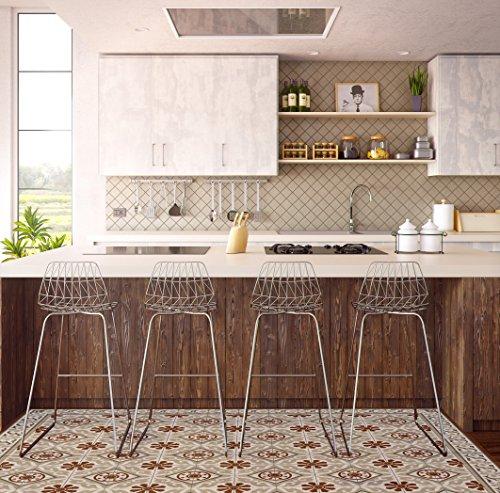 Kitchen vinyl mat Carpet Tiles Pattern Decorative linoleum rug , Bordeaux &ligth brown 210 by Vanill