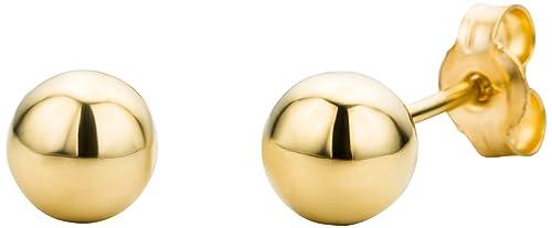 dac562fb7 Miore 9 kt (375) Yellow Gold Ball Stud Earrings, 5mm: Amazon.co.uk ...