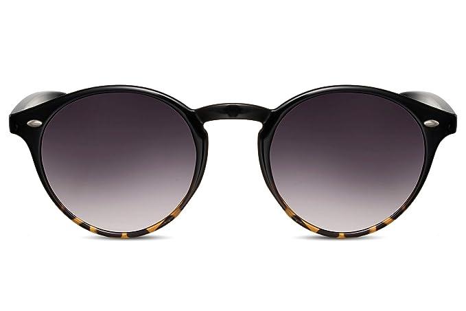 Cheapass Gafas de Sol Redondas Unisex Negras con Efecto Demi ...