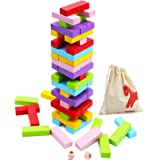 Wooden Stacking Board Games 54 Pieces for Kids Adult and Families, Gentle Monster Wooden Blocks Toys for Toddlers…