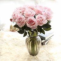 Chunqi Fiori Bouquet Rosette Artificiali in Plastica di Seta 9 Teste Matrimonio Nuziale per la Decorazione del Partito di Giardino Domestico