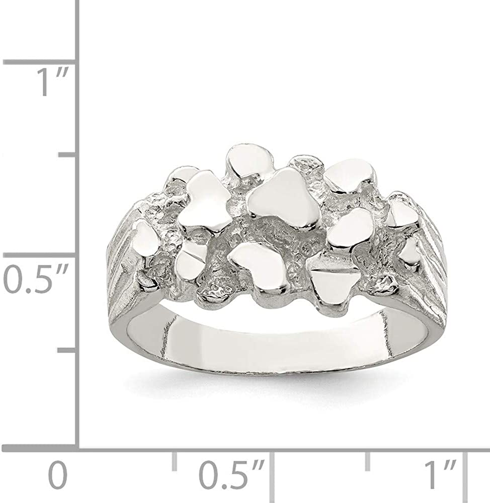 925 Sterling Silver Mens Nugget Ring Size-9