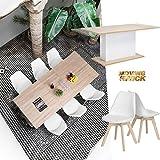 Homy Casa Simple Style Tulip PU Plastic Seat Wood Legs High Quality Lounge Stool Retro 4 Dining Chairs Set White