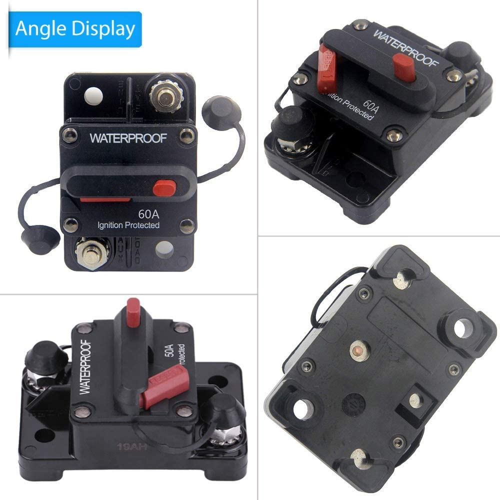 ANJOSHI 100A Auto Car Protection Stereo Switch Fuse Holders Inline Circuit Breaker Reset Fuse Inverter for Car Audio System Protection 12V-24V DC: Automotive