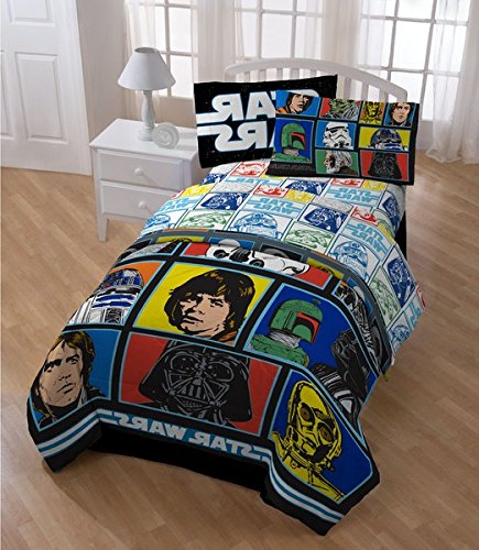 5 Piece Star Wars Character Comforter Twin Set, All Over Logo Patchwork Picture Characters Bedding, Multi Starwars The Movie Space Themed, Luke Skywalker Yoda Darth Vader R2D2 C3PO