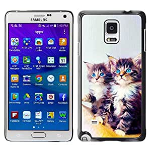 Be Good Phone Accessory // Dura Cáscara cubierta Protectora Caso Carcasa Funda de Protección para Samsung Galaxy Note 4 SM-N910 // Maine Coon Kittens Blue Eyes Feline Cat
