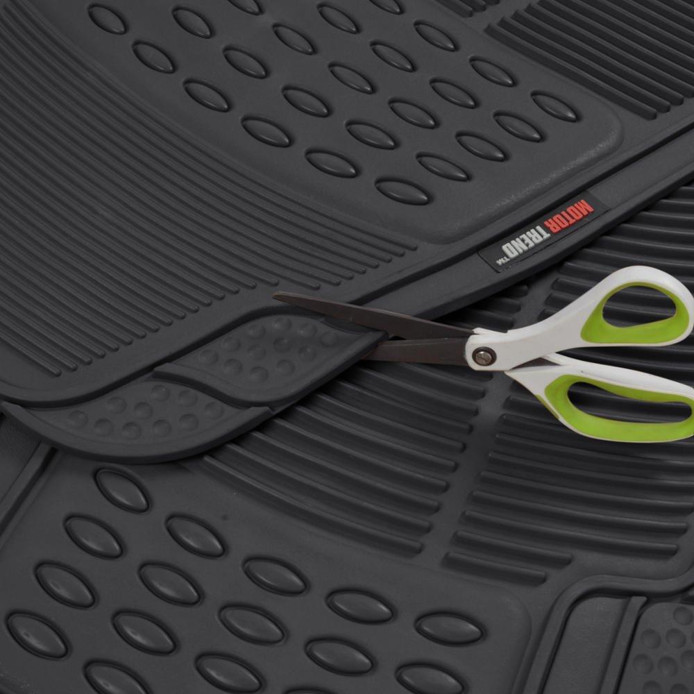 Odorless All Weather Protection MotorTrend MT-754-BK 4 Piece Heavy Duty Rubber Floor Mats Semi Custom Fit Matte Black