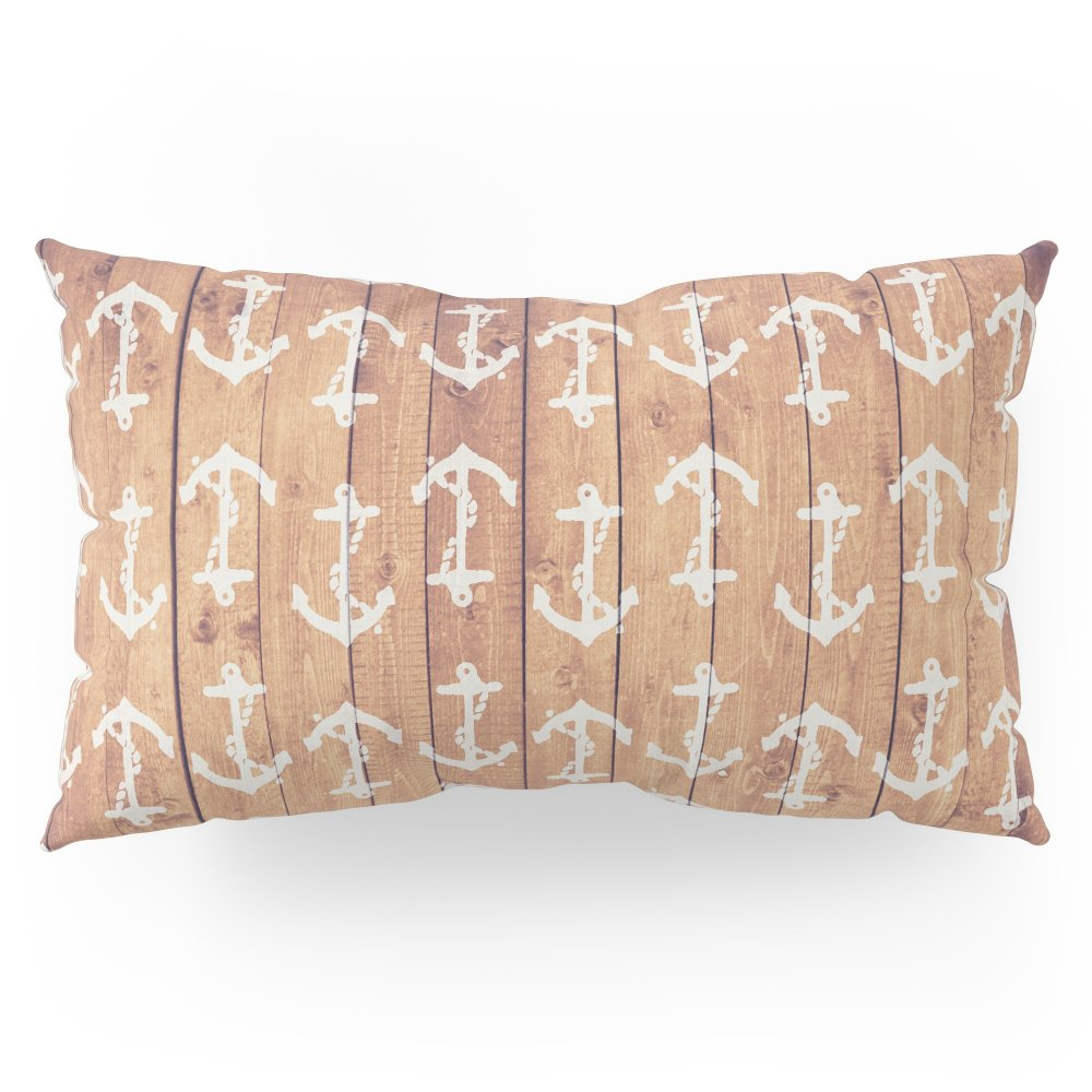 Society6 Vintage White Nautical Anchors Pattern Brown Wood Pillow Sham King (20'' x 36'') Set of 2