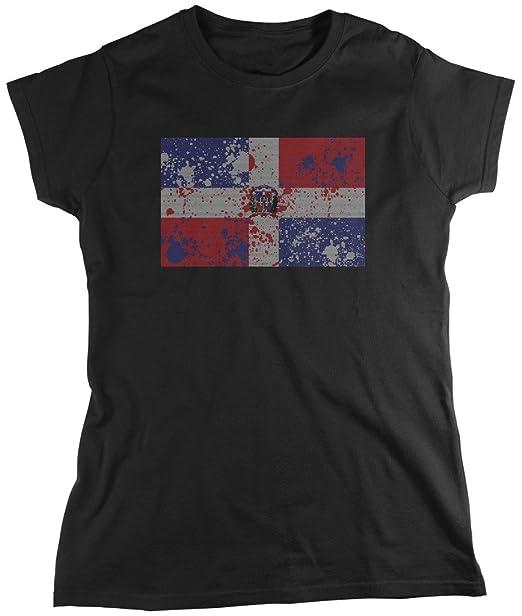 Bandera de República Dominicana, Faded abstracto Dominicana Bandera de la mujer camiseta, amdesco