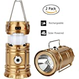 2Pack/4Pack GT ROAD Solar Led Camping Lantern Flashlight Rechargeable