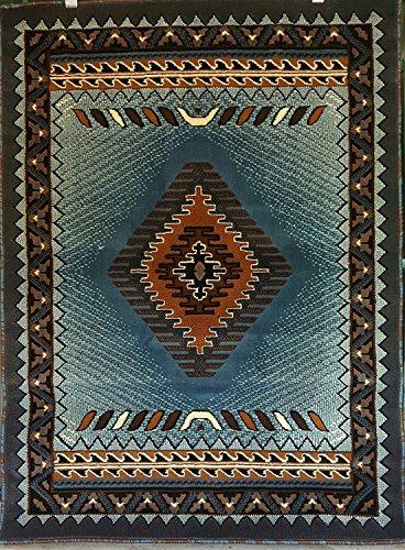 Southwest Native American Area Rug Blue Brown Design D143 (5 Feet 2 Inch X 7 Feet 1 Inch)