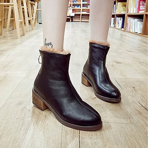Calf Boots Mid Winter ZHZNVX Snow PU Round Beige HSXZ Black Boots for Fall Black Boots Shoes Chunky Heel Casual Women's Toe Comfort n6qZ6a