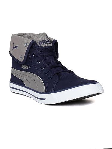 Puma Men's Carme Mid IDP Royal Blue and Quarry Sneakers - 9 UK/India (