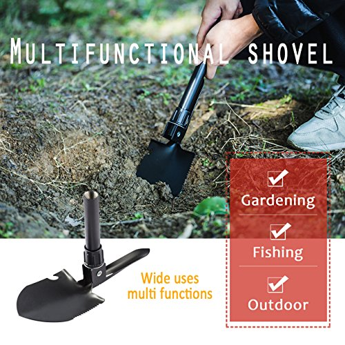 Overmont Folding Shovel - Outdoor Tool 16.3 Inches with Pick Steel Spade for Camping Hiking Backpacking Gardening Entrenching Fishing by Overmont (Image #5)