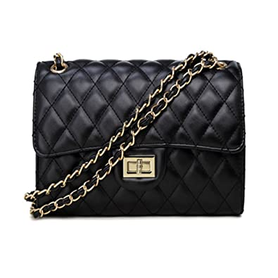 818e4661e9 Sheli Womens Classic Black Printing Calfskin Leather Quilted Shoulder  Handbag Tote with Bronze Link Strap  Amazon.co.uk  Shoes   Bags