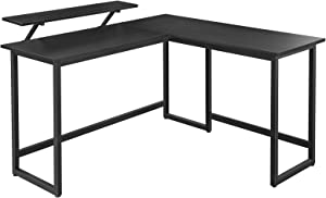 VASAGLE ALINRU Computer Desk, L-Shaped Corner Desk with Monitor Stand, Industrial Writing Workstation for Home Office Study Writing and Gaming, Space Saving, Easy Assembly, Black ULWD56BK