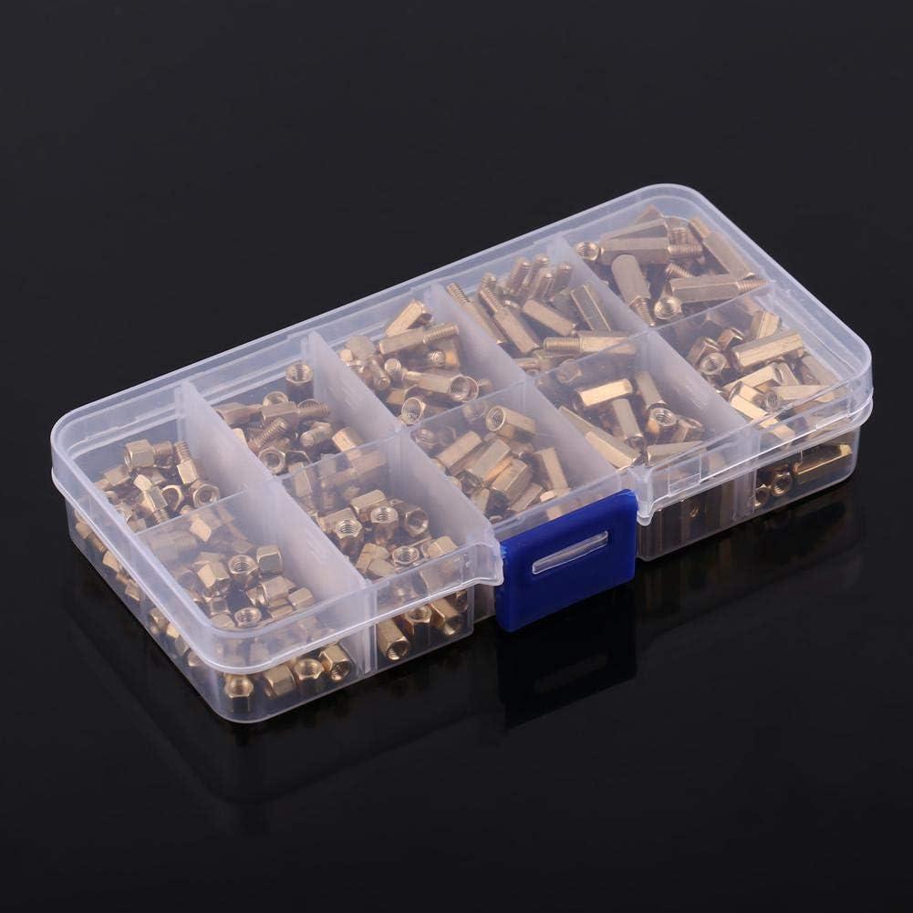 PCB macho-hembra y hembra-hembra Separadores roscados separadores Tornillo Surtido de tuercas Juego de bricolaje para placa base Juego de tuercas de tornillo de lat/ón M3 de 300 piezas