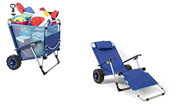Mac Sports Beach Day Silla Plegable para salón de Chaise con combinación de Carrito de Carrito Integrado: Amazon.es: Jardín