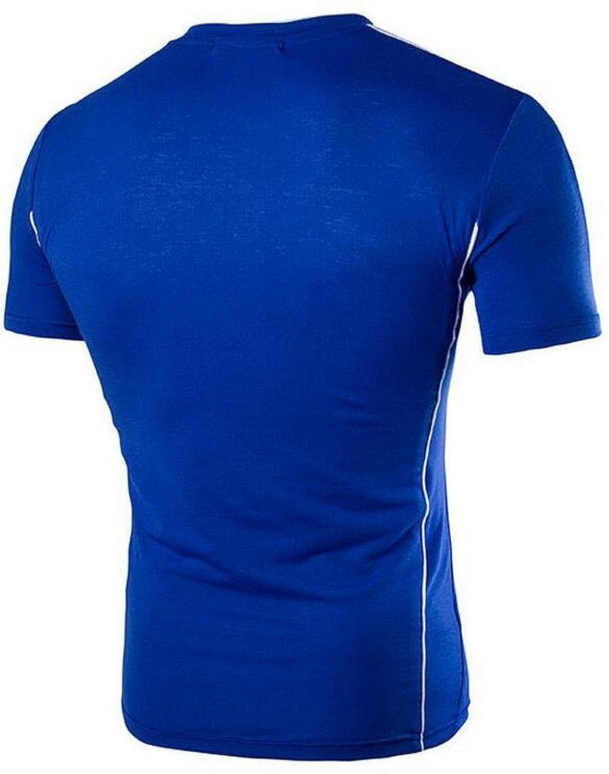 Oberora-Men Fashion Simple Crew Short Sleeve Contrast T-Shirt Tops