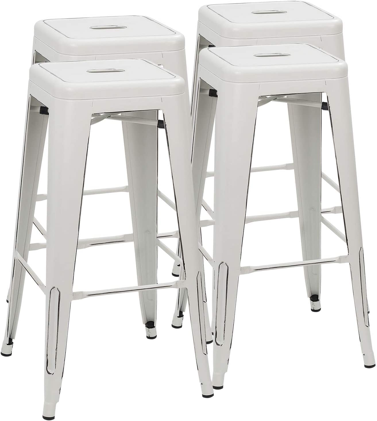 Furmax 30 Inches Metal Bar Stools High Backless Stools Indoor-Outdoor Stackable Stools Set of 4 Distressed White