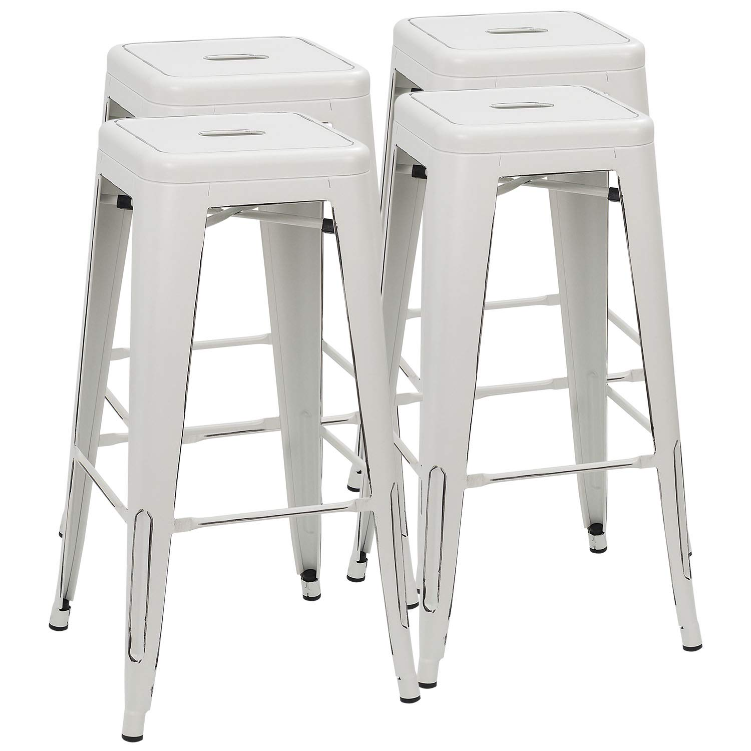 Furmax 30 Inches Distressed White Metal Bar Stools High Backless Stools Indoor-Outdoor Stackable Stools(Set of 4)